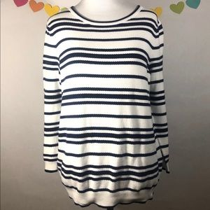 Lands End Blue and White Striped Shirt Size Small